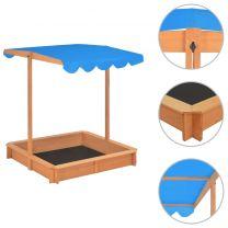 Zandbak met verstelbaar dak UV50 hout blauw