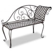 Metalen lounge tuinbank met krulpatroon bruin