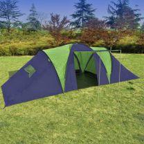 Kampeertent voor 9 personen polyester blauw en groen