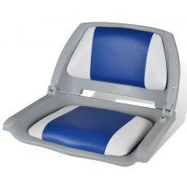 Opklapbare bootstoel met blauw-wit kussen 41 x 51 x 48 cm