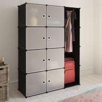 Kast met 9 vakken modulair 37x115x150 cm zwart en wit