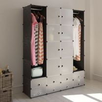 Kast met 18 compartimenten modulair 37x146x180,5 cm zwart/wit