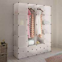 Modulaire kast met 18 compartimenten wit 37 x 146 x 180,5 cm