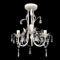 Kristallen kroonluchter met wit elegant design (3 lampen)