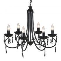 Plafondlamp kroonluchter 6 lampjes zwart