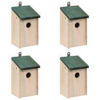 Vogelhuisjes 4 st 12x12x22 cm hout