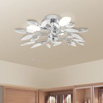 Plafondlamp witte en transparante acryl kristal bladeren 3xE14