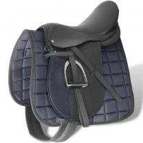 """Echt lederen paardrijzadel 16"""" 14 cm (5-in-1 set, zwart)"""