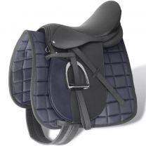 """Echt lederen paardrijzadel 17,5"""" 18 cm (5-in-1 set, zwart)"""