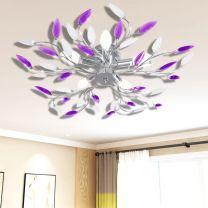 Lamp met kristallen bladeren van acryl voor 5x E14 paars en wit