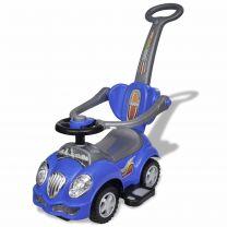 Loopauto met duwstang blauw