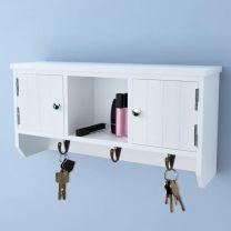 Wandkastje voor sleutels en sieraden met deurtjes en haken
