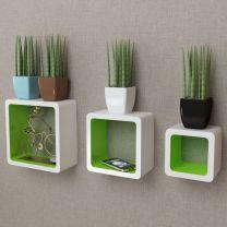 Wandplanken kubus MDF zwevend voor boeken/dvd 3 st wit-groen