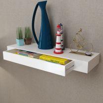 Wandplank voor boeken/dvd's met lade zwevend wit