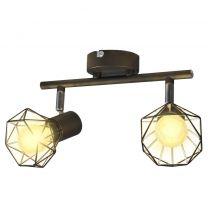 Lamp in industrile stijl met 2 LED spotjes, zwart