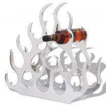 Wijnrek voor 11 flessen aluminium zilverkleurig