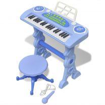 Speelgoedkeyboard met krukje/microfoon en 37 toetsen blauw