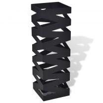 Paraplu- en wandelstokhouder zwart vierkant staal 48,5 cm