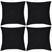 Kussenhoezen katoen 40 x 40 cm zwart 4 stuks