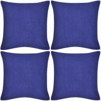 Kussenhoezen katoen 40 x 40 cm blauw 4 stuks