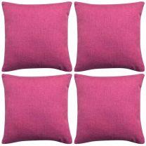 Kussenhoezen 4 stuks linnen look roze 40x40 cm