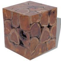 Kruk massief teakhout 40x40x45 cm