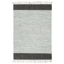 Vloerkleed chindi handgeweven 80x160 cm leer lichtgrijs zwart