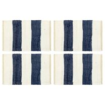 Placemats 4 st chindi gestreept 30x45 cm blauw en wit