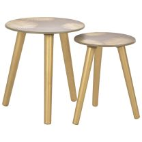 2-delige tafeltjesset 40x45 cm/30x40 cm MDF goudkleurig