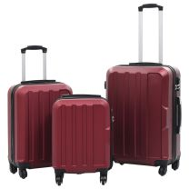 3-delige Harde kofferset ABS wijnrood