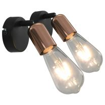 Spotlights 2 st E27 zwart en koper