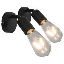 Spotlights 2 st met filament peren 2 W E27 zwart