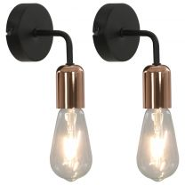 Wandlampen 2 st met filament peren 2 W E27 zwart en koper