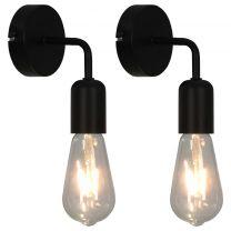 Wandlampen 2 st met filament peren 2 W E27 zwart