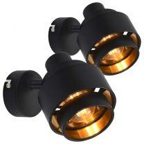 Spotlights 2 st E14 zwart
