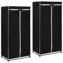 Kledingkasten 2 st 75x50x160 cm zwart