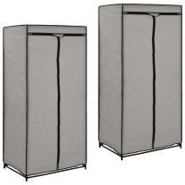 Kledingkasten 2 st 75x50x160 cm grijs