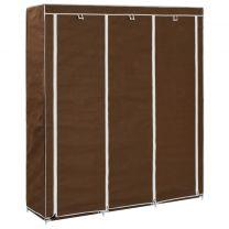 Kledingkast met vakken en stangen 150x45x175 cm stof bruin