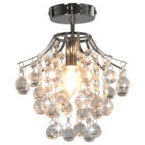 Plafondlamp met kristallen kralen rond E14 zilverkleurig