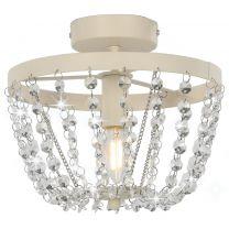 Plafondlamp met kristallen kralen rond E14 wit