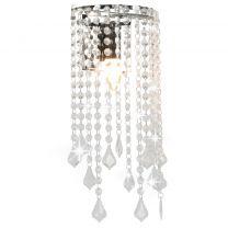 Wandlamp met kristallen kralen rechthoekig E14 zilverkleurig