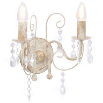 Wandlamp met kralen 2xE14 antiekwit
