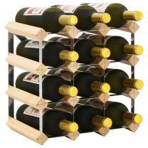 Wijnrek voor 12 flessen massief grenenhout