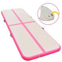 Gymnastiekmat met pomp opblaasbaar 400x100x10 cm PVC roze