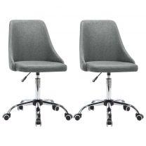 Kantoorstoelen met wieltjes 2 st stof lichtgrijs