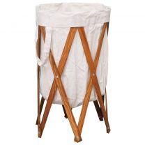 Wasmand inklapbaar hout en stof crme