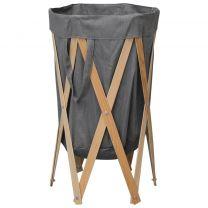 Wasmand inklapbaar hout en stof grijs