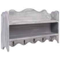 Wandkapstok 50x10x30 cm hout grijs