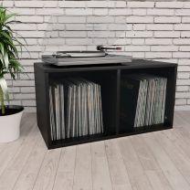 Opbergbox voor LP's 71x34x36 cm spaanplaat zwart
