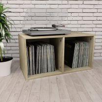 Opbergbox voor LP's 71x34x36 cm spaanplaat sonoma eikenkleur